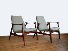 Denmark | Arne Hovmand-Olsen easy chairs.  The designer (1919-1989) apprenticed to a cabinetmaker in 1938. Once qualified, he started his own studio creating furniture of modern design executed in a simple, light style. It was sold in Denmark but was mainly exported to the large overseas market, with the US being an avid consumer. His studio closed in the 1970's.