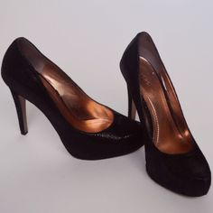 Black Pumps. BCBG black pumps, with gold interior. Worn, but in great condition. No damages. BCBGeneration Shoes Heels