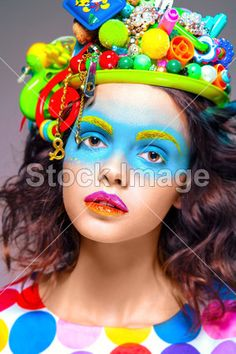 Woman with creative pop art makeup