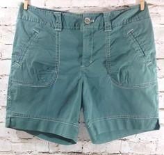 EDDIE BAUER Special Dyed Shorts Sz 4 Cotton Stretch Flap Pockets Blue Green EUC #EddieBauer #CasualShorts