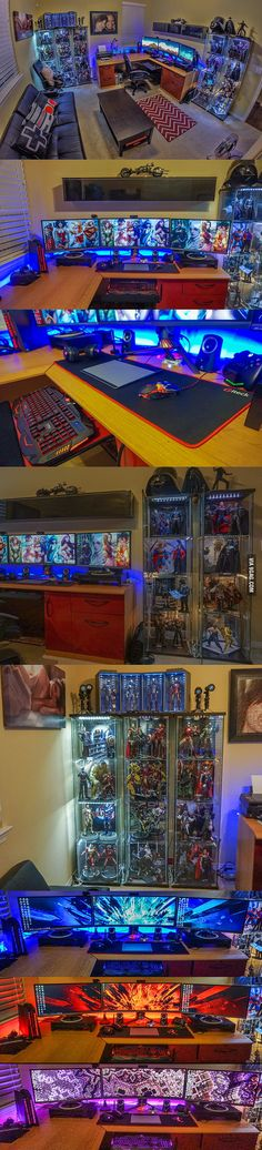 The Most Extreme Home Gaming Setups You Need to See to Believe Goodbye outside w… The Most Extreme Home Gaming Setups You Need to See to Believe Goodbye outside world - Heimkino Systemdienste Gaming Room Setup, Computer Setup, Pc Setup, Desk Setup, Gaming Rooms, Geek Room, Video Game Rooms, Game Room Design, Game Room Decor