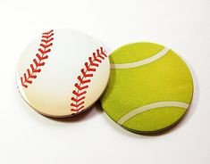 Sports Coasters Baseball Tennis Ball Barware Set Of Fan Gift For Him 5107c