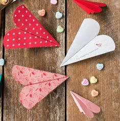 Free Printable Heart Paper Airplanes | AllFreePaperCrafts.com