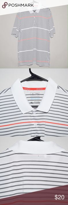 Adidas Climacool Short Sleeve Golf Polo Shirt Brand: Adidas Item name: Men's Climacool Golf Polo Shirt   Color: White / Grey / Red Condition: This is a pre-owned item. There is a very small pinhole on the back of the shirt near the collar (see photo) bu otherwise it is in excellent condition with no stains, rips, etc. Comes from a smoke free household. Size: XL Measurements laying flat: Pit to pit - 24 inches Shoulder to base - 31 inches adidas Shirts Polos