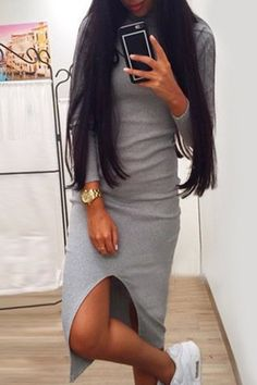 Stylish Long Sleeve Gray Slit Women's Slimming Dress