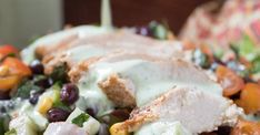 """""""Tender grilled chicken, black bean and corn salsa and a creamy jalapeño cilantro dressing make this Southwest Chicken Salad a lovely meal for summer!"""" Sarah www.TrimHealthyMama.com"""
