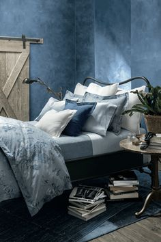 bedroom with washed denim walls, pantone riverside, dusty blue, smoky blue, slate blue