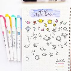 January mood tracker ☀️  Aha well I guess I do have more galaxy themed photos for you guys ✨this layout is inspired by the amazing @amandarachdoodles!! She has an awesome YouTube channel and insta account - she is a must see for bujo beginners or learners! I really love this unique doodle style layout This is my first time doing a mood tracker and I'm so excited to fill it all out!  ---------------  #mood #moodtracker #tracker #doodle #doodles #tracker #galaxy #planets #stars #bullet