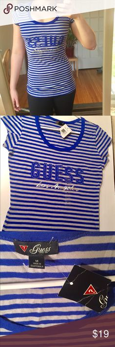 Guess Los Angeles stripes women's tee NWT! Adorable, flattering Guess women tee. Size M. Brand new with tags ! Guess Tops Tees - Short Sleeve