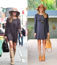 Chrissy+Teigen+look+for+less-+camel+hat,+loose+gray+dress,+knee+high+boots.png