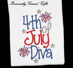 #4thofjuly #july4th #4thofjulydiva 4th of July Diva Patriotic Girls Custom Embroidered Shirt or Bodysuit for Kids Independence Day with Stars