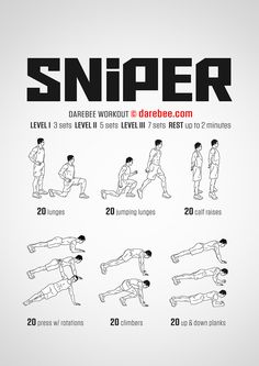 Sniper is a Level 4 high-burn workout that pushes the boundaries of what you can do. Neila Rey Workout, Boxing Workout, Sniper Training, Gym Training, Running Workouts, At Home Workouts, Gym Planner, Warrior Workout, Workout Videos