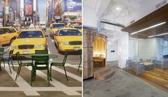 Google's NYC office space channels its surroundings with a life-sized mural of taxis at an intersection. (Designer: HLW)