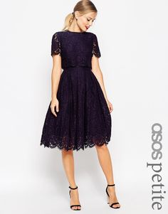 ASOS PETITE SALON Lace Crop Top Midi Prom Dress