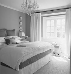 Gray Wall With Glass Windows And White Curtains Combined With White Bed Sheet, Astounding Grey And Blue Bedroom Ideas With Cool Design: Bedroom