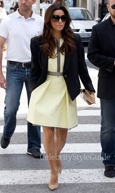 Victoria Beckham Dry Scrunch Zip Front Dress - Eva Longoria wore the Victoria, Victoria Beckham Dry Scrunch Zip Front Dress shopping in Cannes France May 19 2013