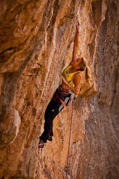 "Sasha DiGiulian climbing a route named ""Indulgence"" rated13b at ""The Wailing Wall,"" near St. George Utah."