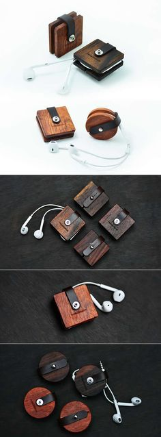 Wooden Headphone Wrap Winder Cable Cord Organizer More gadgets Wooden Crafts, Wooden Diy, Diy And Crafts, Handmade Wooden, Headphone Wrap, Headphone Holder, Diy Cadeau Noel, Ring Tutorial, Small Wood Projects