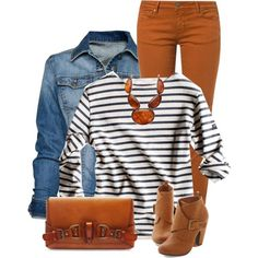 A fashion look from January 2015 featuring white long sleeve shirt, blue jackets and cimarron jeans. Browse and shop related looks. Orange Pants Outfit, Colored Pants Outfits, Colored Jeans, Camel Pants Outfit, Fall Winter Outfits, Autumn Winter Fashion, Look Fashion, Fashion Outfits, Fashion Fashion