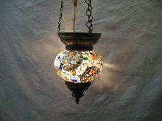 gray lamp mosaic hanging light glass candle holder moroccan lantern no : 80 #HANDMADE #Moroccan