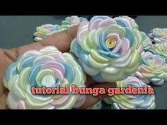 12# tutorial bunga gardenia || how to make gardenia flower from ribbon - YouTube