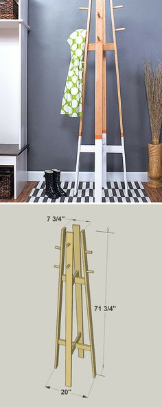 Not everyone has space for a mudroom, but everyone does need a place to hang coats and hats when they come in the door. With this coat rack, you'll get that hanging space without taking up floor space. At less than 2-feet wide and 6-feet tall, its compact size makes it easy to fit almost anywhere. FREE PLANS at buildsomething.com