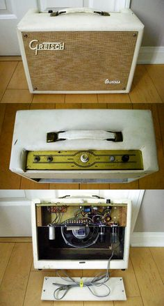 """1964 Gretsch Princess Model 6153 amplifier in white Tolex. Made by Valco, one 6V6 power tube with 12AY7 preamp and 5Y3 rectifier tubes, 8"""" blue label Jensen speaker"""