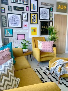 Complete gallery goals from featuring our 'Think Happy' pri - Mustard Living Rooms, Teal Living Rooms, Colourful Living Room, Home Living Room, Living Room Designs, Boho Home, Room Colors, Living Room Decor Colors, My New Room