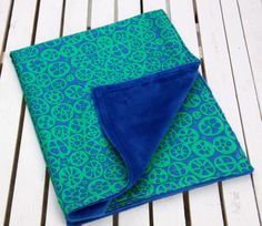 Adorable Cotton and Minky Baby Blanket Travel Size by ChubbyLove, $25.00