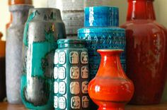 eclectic mix of vases