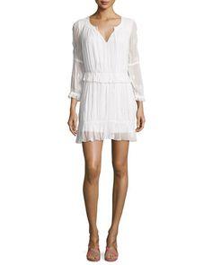 TC6V6 Diane von Furstenberg Edlyn 3/4-Sleeve Shirred Embroidered Dress, White