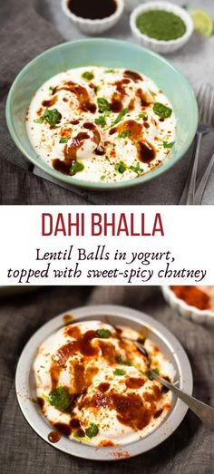 This favorite Dahi Vada or Dahi Bhalla recipe has the softest lentil fritters drenched in creamy yogurt, and topped with sweet and spicy chutney's. This popular Indian street food is a loved by all and is a perfect inclusion to any festive menu! #streetfood #indianfood #yogurt #dahivada #dahibhalla | pipingpotcurry.com