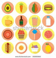 various food flat icon by mhatzapa, via Shutterstock #vector #illustration #microstock #food #flat #icon