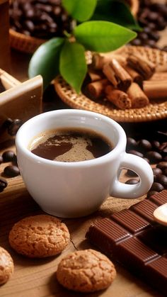 Nothing better than coffee, cookies and chocolate! Hot Coffee Image, Coffee Gif, Coffee Images, Coffee Break, Coffee Pictures, Coffee Is Life, I Love Coffee, My Coffee, Coffee Cups