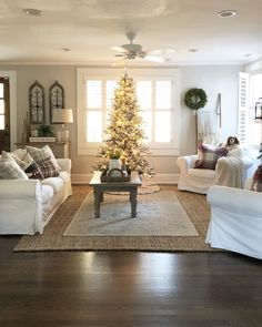 id want a fluffier tree and would probably go black white decor christmas living roomschristmas