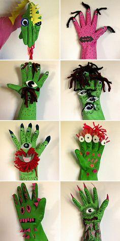 monsterhandschoen: Van een werkhandschoen een leuk monster maken met wol, wiebeloogjes,.... leuk resultaat!