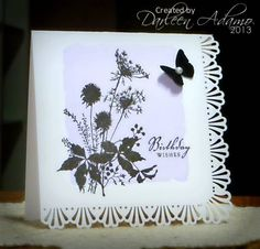 Love how the punch around the page only does 2 sides    Stamps: Just for Fun Flowers, PTI sentiment  Paper: Whisper White  Ink: Almost Amethyst, Versafine Black Onyx  Accessories: MS butterfly punch and Punch around the Page