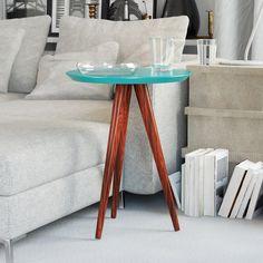 Mesinha Lateral Retrô Redonda 45cm cor Azul Turquesa Lush - Mesas e Conjuntos - Móveis - ShopDesign