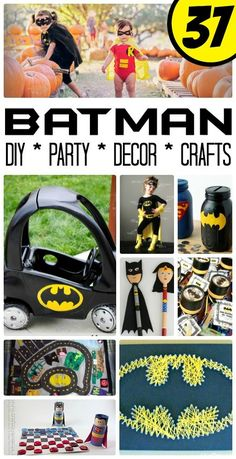 Easy Batman DIY Ideas – oh my goodness, if you are a Batman Fan (or adore the new LEGO Batman Movie), are hosting a Batman Party or need to create a Batman Room Make Over, you simply have to check out this amazing collection of Easy Batman DIY Ideas. Lego Batman Birthday, Lego Batman Party, Disney Cars Birthday, Lego Batman Movie, Superhero Party, Avengers Birthday, Batman Crafts, Batman Room, Baby Batman