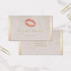 #makeupartist #businesscards - #elegant lipstick kiss makeup artist business card