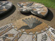 Pebble Mosaic Artist John Botica: Why Mosaic? Pebble Mosaic, Stone Mosaic, Pebble Art, Mosaic Tiles, Pebble Garden, Mosaic Garden, Mosaic Crafts, Mosaic Projects, Yard Sculptures