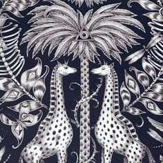 View the Clarke & Clarke Emma J Shipley Animalia Kruger Wallpaper online with WallpaperSales at the discounted price of Navy Wallpaper, Wallpaper Online, Animal Wallpaper, Beautiful Wallpaper, Jungle Scene, Safari Adventure, Forest Creatures, Design Repeats, High Quality Wallpapers