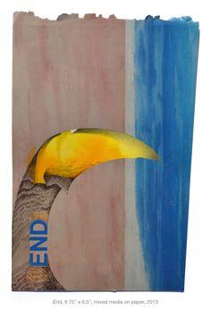 "Megan Greene. ""End"", 9.75"" x 6.5"", mixed media on paper, 2013"