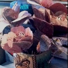 roses made from tree bark. super lovely.