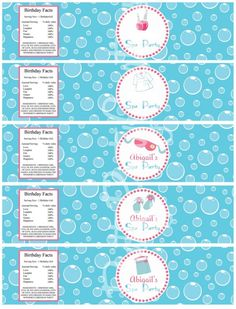 water bottle labels for your next spa birthday party Spa Party Favors, Kids Spa Party, Spa Birthday Parties, Pamper Party, Birthday Party Themes, Birthday Ideas, Kid Parties, Party Fun, 7th Birthday