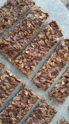 Granola bars. Tastes like no bake cookies but healthier.