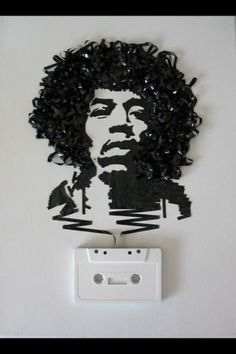 Jimi Hendrix portrait made out of cassette tape.. greatness in so many ways