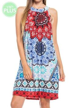 ABORIGINAL PRINT SELF TIE BACK DETAIL DRESS PLUS