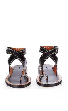 Isabel Marant Jools Eyelet-Embellished Leather Sandals Black - Isabel Marant