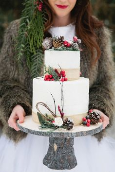 Make your wedding cake feel extra festive for winter with berry + branch cake…